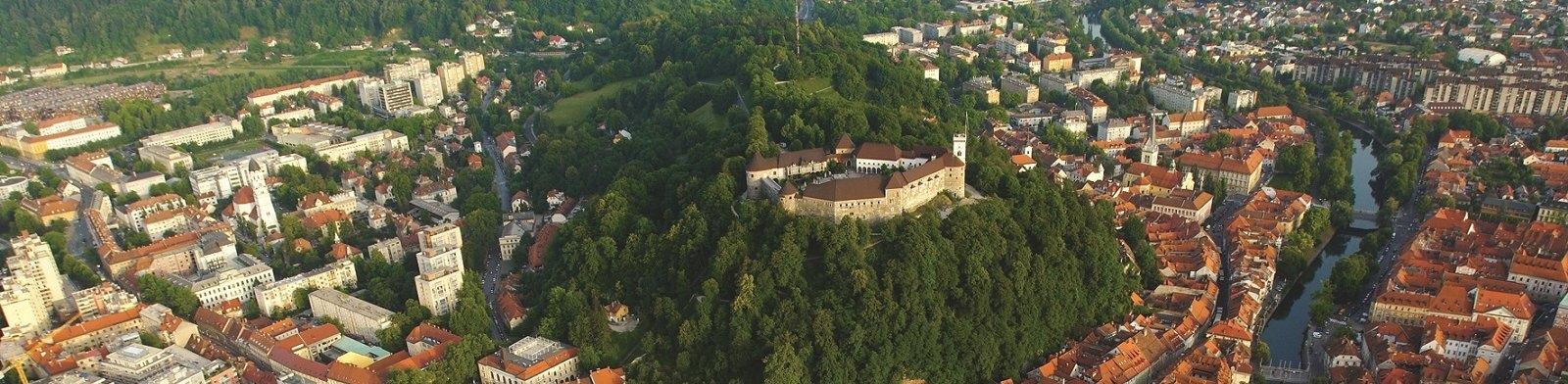 Ljubljana Old Town aerial view
