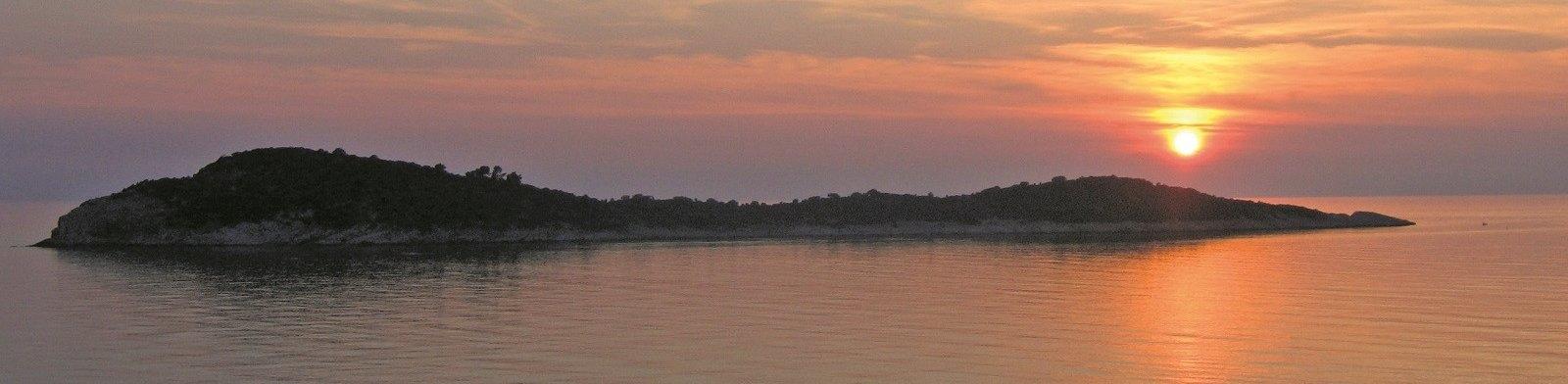 Island Mrkan at sunset