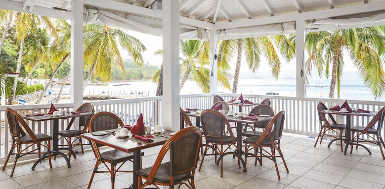 windjammer landing villa beach resort,  restaurant terrace