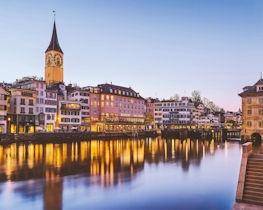 Storchen Zurich, exterior night