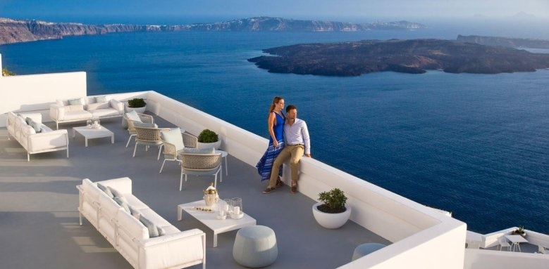 Grace Santorini, couple enjoying view