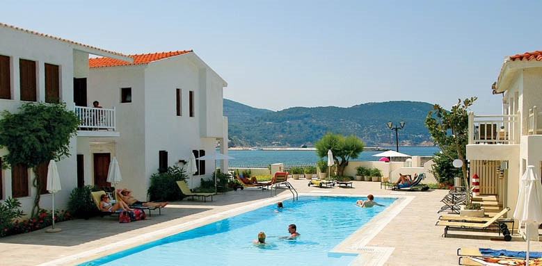 Skopelos Village Suite Hotel, pool and exterior