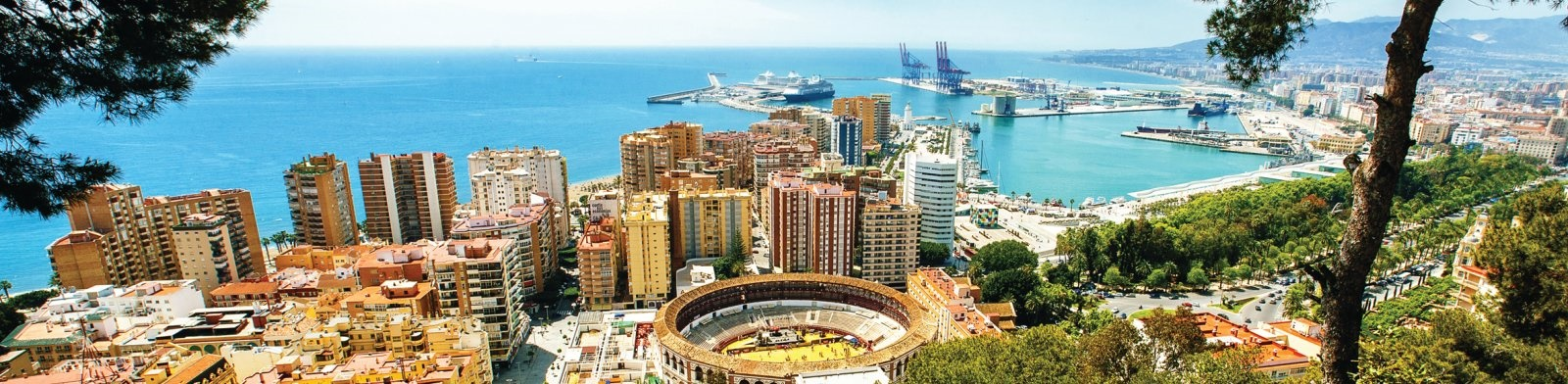 Malaga, dock and city image